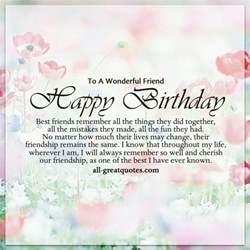 to a wonderful friend happy birthday best friends quotes