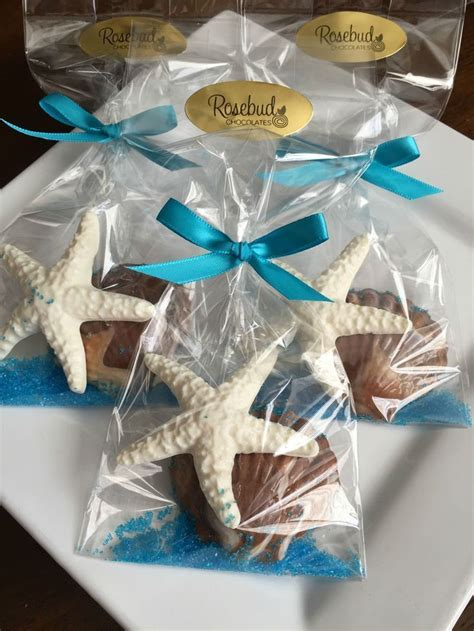 chocolate starfish and seashell favors wedding bridal