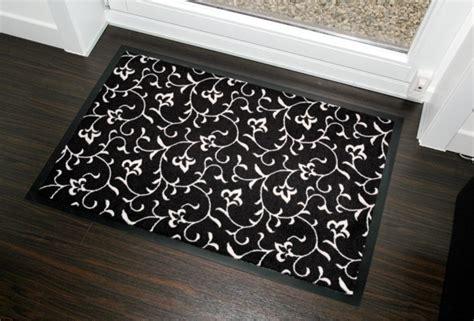 design fussmatte floral schwarz weiss waschbar dunord