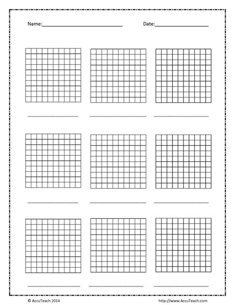 blank base ten hundreds frame grade  math teaching