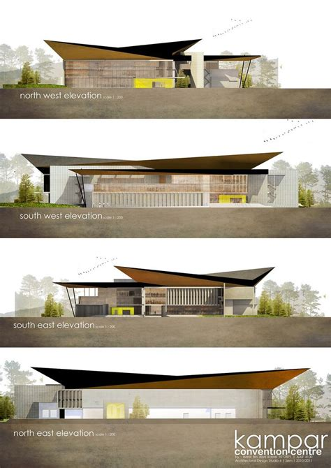 Four Elevations Of Kampar Convention Centre, Each Using