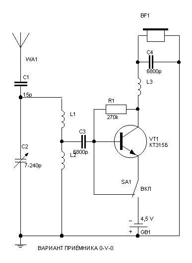 Схема детекторного приемника. Описание .