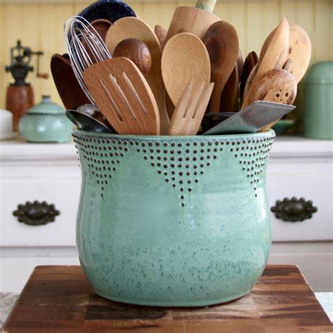 jumbo utensil holder  aqua mist  bay pottery