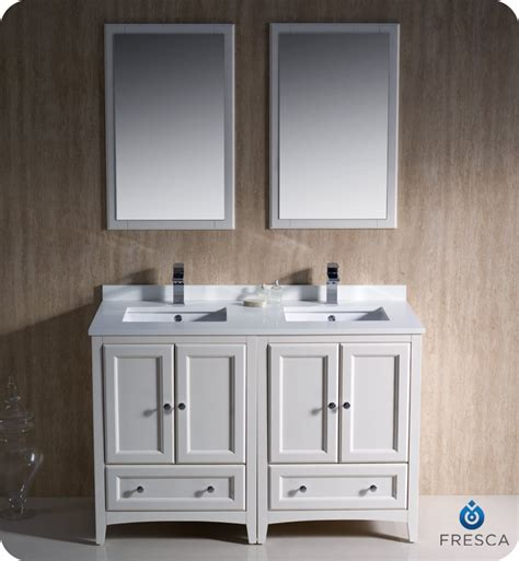 48 inch double sink vanity 48 quot fresca oxford fvn20 2424aw traditional double sink