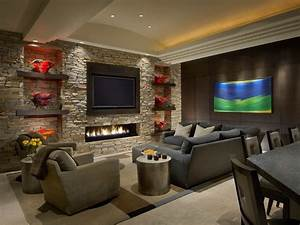 Recessed tv niche ideas living room contemporary with