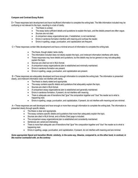 compare and contrast essay template compare and contrast essay outline template write language arts