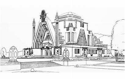 Deco Monument France Drawing Coloring Architecture Pages