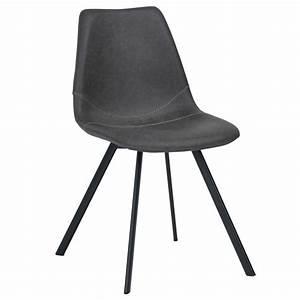 Chaise Vintage Cuir : chaise vintage en simili cuir noir vieilli lot de 2 chaises tabourets salle manger ~ Teatrodelosmanantiales.com Idées de Décoration