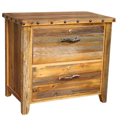 barnwood locking lateral filing cabinet with nailheads 2 drawer