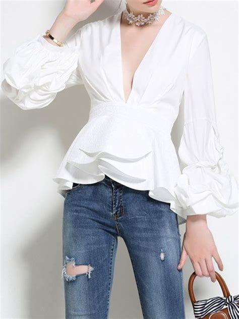 tops white black cotton v neck paneled ruffled balloon sleeve statement fall mid weight