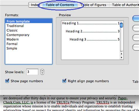 Top Word Templates With Table Of Content by Microsoft Table Of Contents Word 2011 Mac