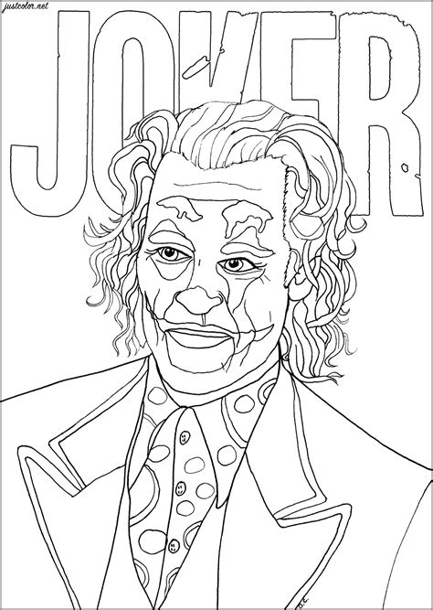 Joker Joaquin Phoenix - Movies Adult Coloring Pages