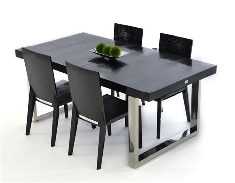 Black Dining Table by Skyline Modern Black Crocodile Lacquer Dining Table