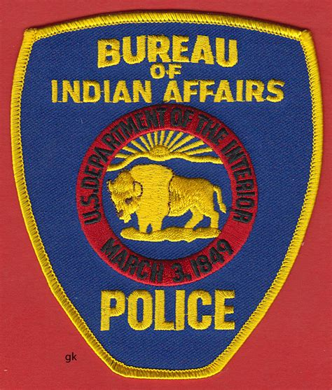 federal bureau of indian affairs bureau indian affairs dept interior shoulder patch