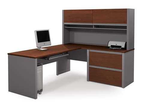 Black L Shaped Desk Ikea by L Shape Gray White Wooden Desk With Storage A So Shelf For