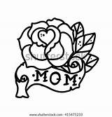 Tattoo Mom Rose Ribbon Flower Vector Word Mother Daughter Coloring Pages Drawing Without Sword Retro Heart Skull Swallower Shutterstock Sketch sketch template