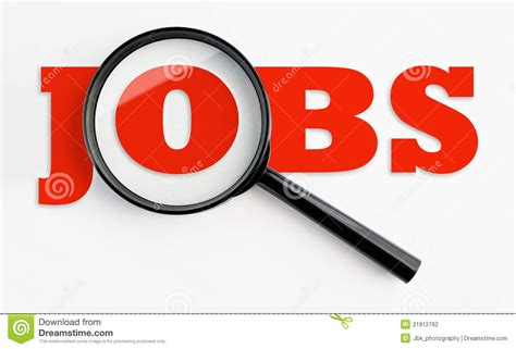 magnifying glass  jobs text stock photo image