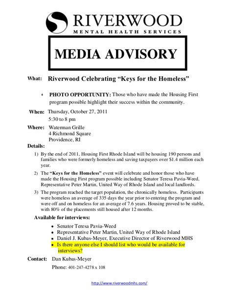 media advisory template riverwood mhs media advisory 2011