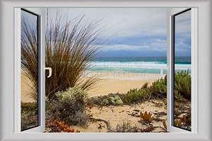 3D Window Decal WALL STICKER Home Decor Nature Beach View