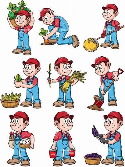 Male Farmer Cartoon Clipart Vector Farmers Background