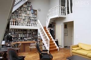 Grande verrière et mezzanine bibliothèque C0594 Mires Paris