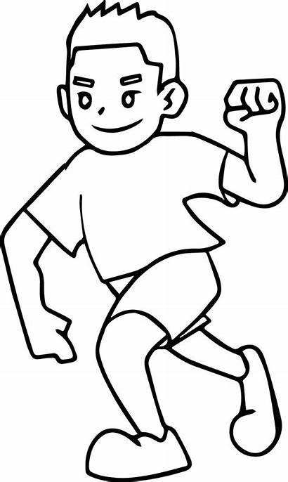Boy Running Coloring Winner Awesome Boys Wecoloringpage