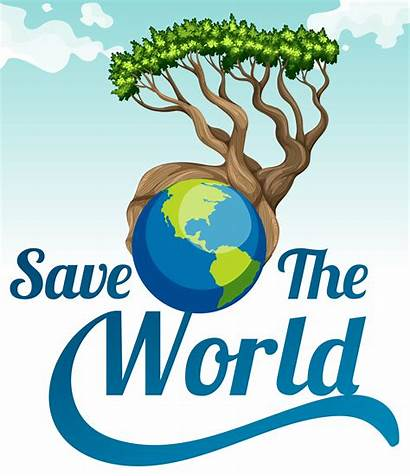 Earth Poster Save Tree Vector Clipart Illustration