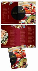 japanese sushi restaurant bi fold to go menu template With to go menu template free