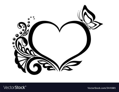 black  white heart  floral design vector image