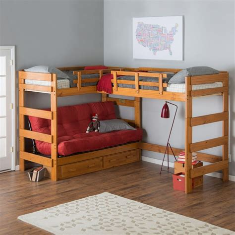 Bunk Bed With Futon by 9woodcrest Heartland Futon Bunk Bed With 2 Loft Beds With