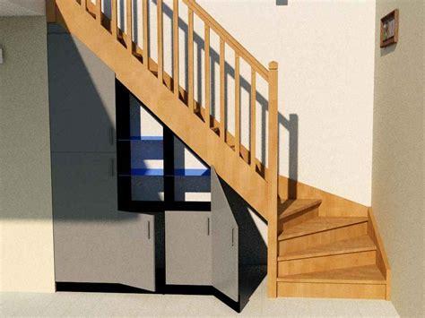 bureau bibliotheque aménagement sous escalier quart tournant partie 2