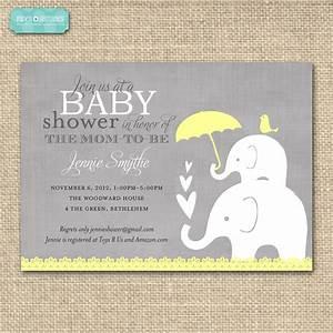 Baby Shower Invitation-Elephant /Yellow and Grey Printable ...
