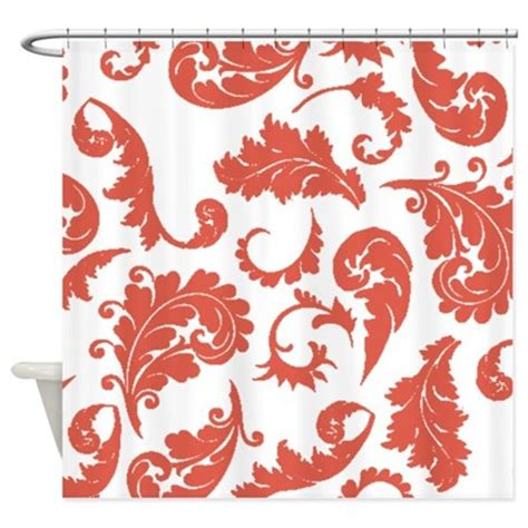 coral patterned curtains coral damask pattern shower curtain by showercurtainsworld