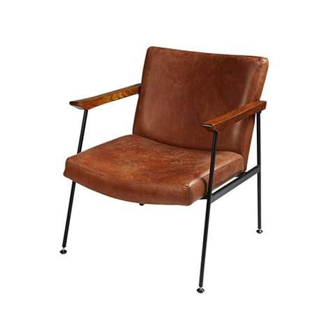 maison du monde siege fauteuil en cuir de vachette marron vieilli