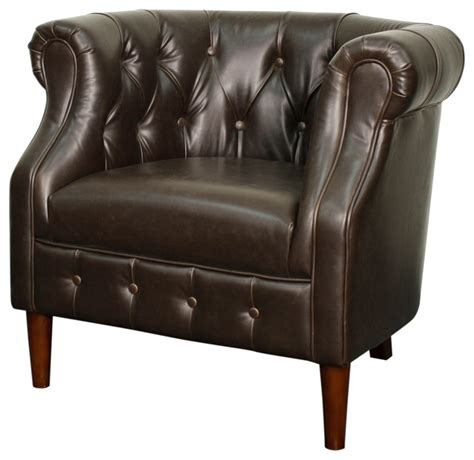 bonded leather tufted tub chair vintage brown