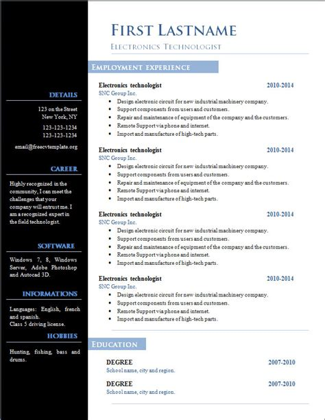 A Free Cv Template by Free Cv Template 303 To 309 Free Cv Template Dot Org