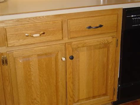 handles for oak kitchen cabinets paint originals orb color or buy new knobs handles 6985