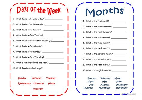 days and months worksheet free esl printable worksheets
