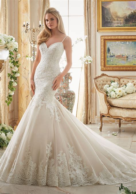 romantic alencon lace bridal dress style  morilee