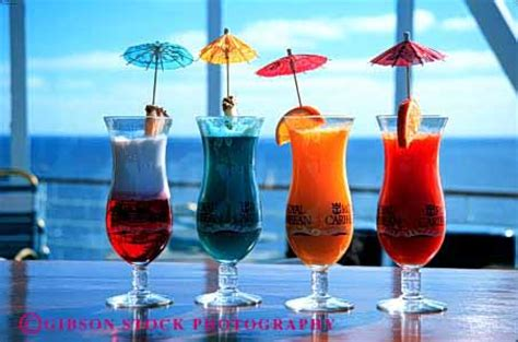 Colorful Tropical Fruit Drinks On Cruise Ship Stock Photo 2658