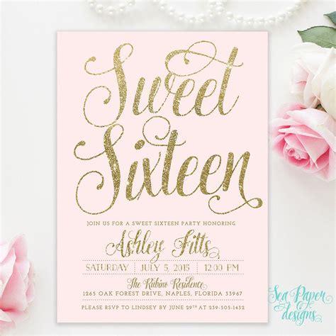 sweet sixteen  birthday invitation blush pink gold