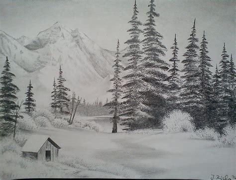 landscape drawings  pencil snow landscape