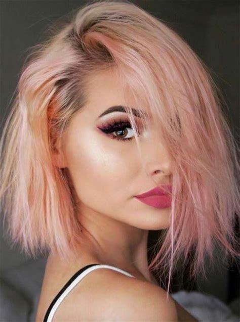 rosa haare selber färben sch 246 ne frisuren abend make up rosa lippenstift kurze haare in rosa und blond trends