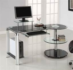 glass and metal computer desk with drawers furniture looking home office decoration design with