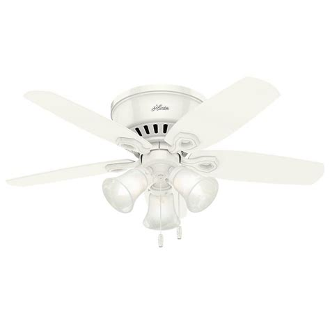low profile white ceiling fan hunter builder low profile 42 in indoor snow white