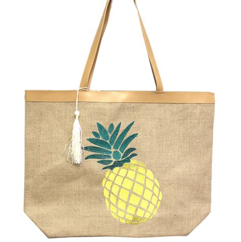 large pineapple embroidered tote     shopping