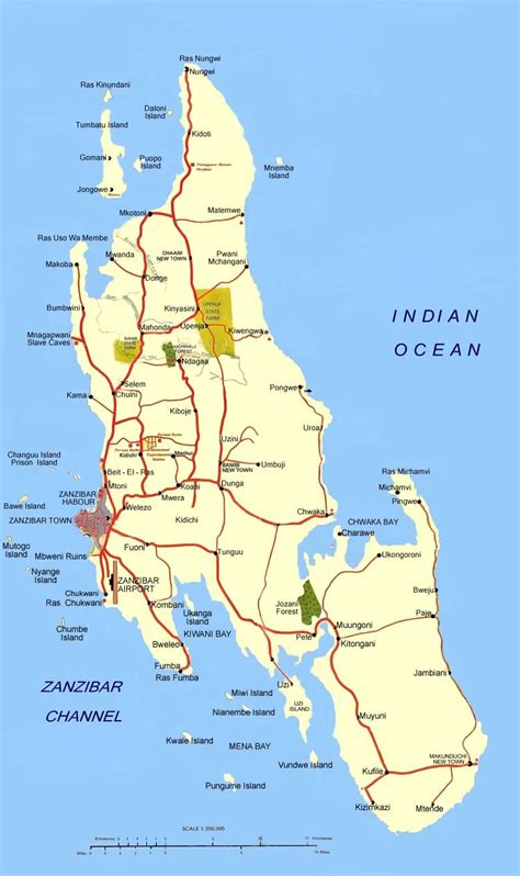 large zanzibar island maps     print