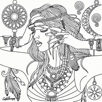 Coloring Pages Adult Woman Printable Dreamcatcher Adults