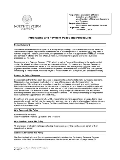 Purchasing Policies And Procedures Template by Purchasing Policy Template 2 Free Templates In Pdf Word
