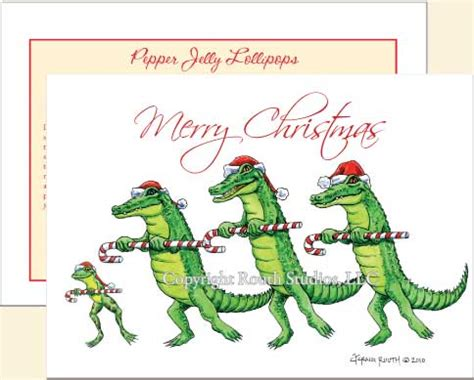 alligator christmas cards holiday cards  louisiana